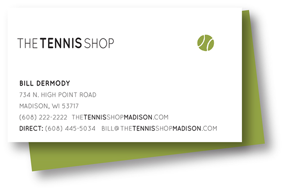 The Tennis Shop logo and business card
