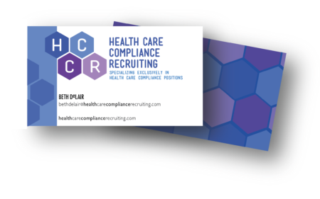 Health Care Compliance Recruiting logo and business card