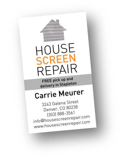 House Screen Repair logo and business card